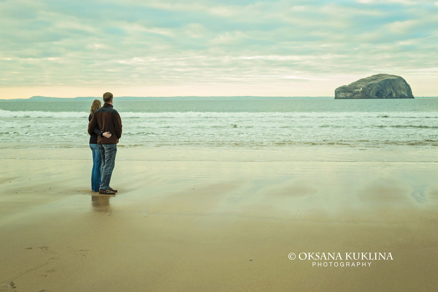 Engagement at Seacliff Beach in Scotland by © Edinburgh Wedding Photographer Oksana Kuklina